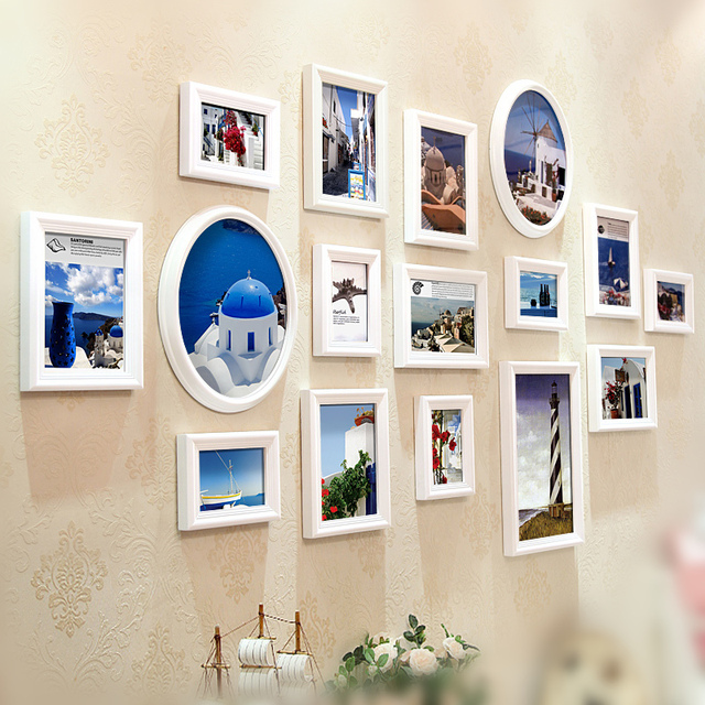 16 pcs/set Picture Frames Wall Photo Frame Combination Wedding Frame ...