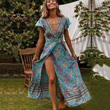 Cuerly Sexy floral print long maxi dress women Summer elegant party wrap bow dress vestidos Female casual beach dresses L5