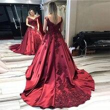V-образный вырез Бургундия выходные платья без рукавов Принцесса Линия длинное официальное вечернее платье аппликации из бисера Часовня Поезд халат де бал