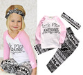 2016 ins baby girl clothing set long sleeve T-shirt+ pants+headband 3pcs Infant bebe girl kids clothes set toddler cloth set