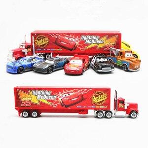 Image 2 - New 7 Piece / Set Disney Pixar Car 3 Lightning McQueen Jackson Storm Material Mack Uncle Truck 1:55 Die Casting Metal Car Model