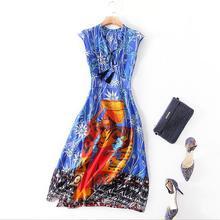 2018 New Women's Silk dress V-Neck collar high quality women printing dress female Sleeveless silk dress