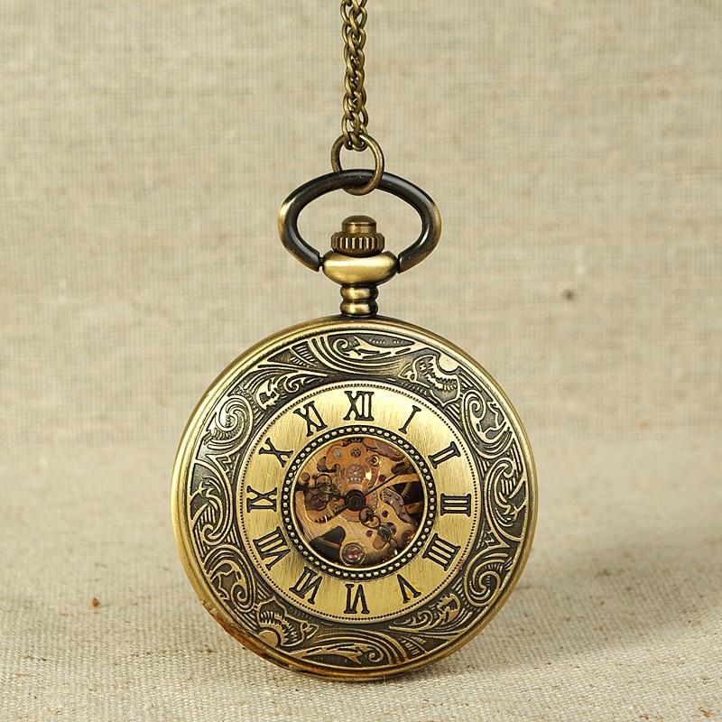 8960Antique Mechanical  Pocket Watch Bronze Spiral Pattern Golden Gear Openwork Dial Montreux Luxury Gift Necklace Pendant Watch