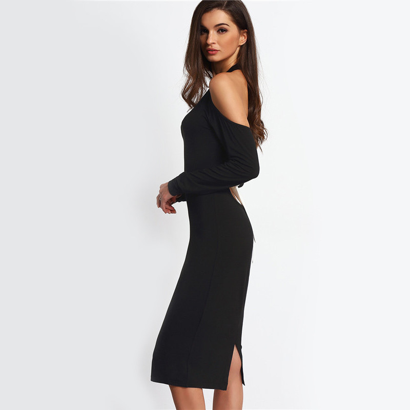Hollow Out Black Open Shoulder Long Sleeve Backless Bow Halter Dress
