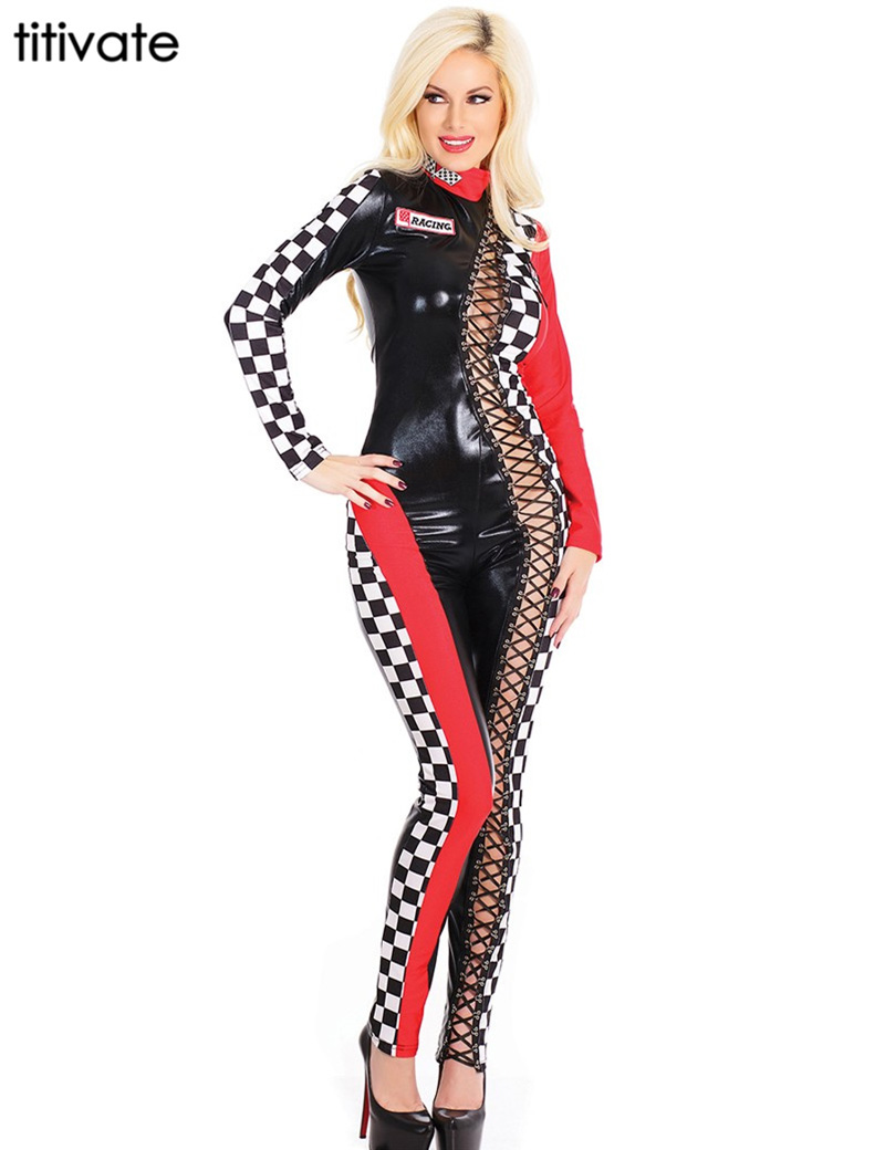 Back To Search Resultshome Helpful Sexy Adult Sports Racing Uniform Race Car Driver Jumpsuit Racing Girls Cosplay Costume Cheerleader