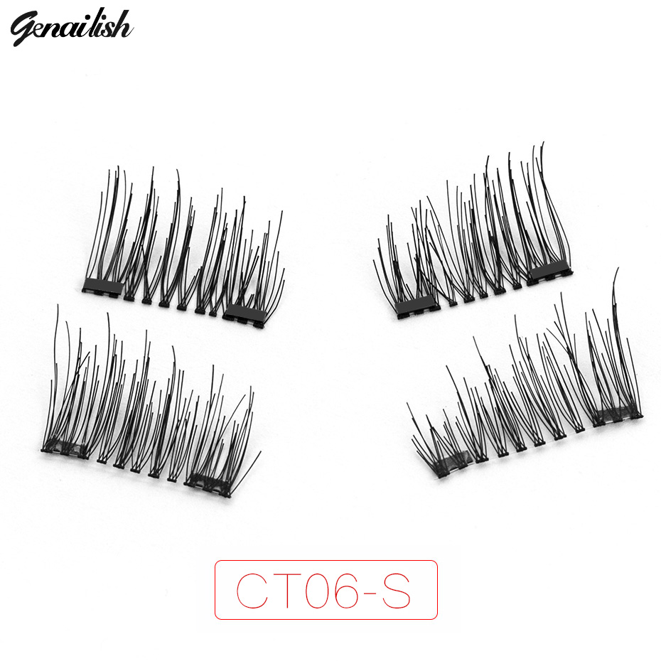 Genailish Double Magnet Eyelashes 6D False Lashes Synthetic fiber Eyelashes Makeup Eyela ...