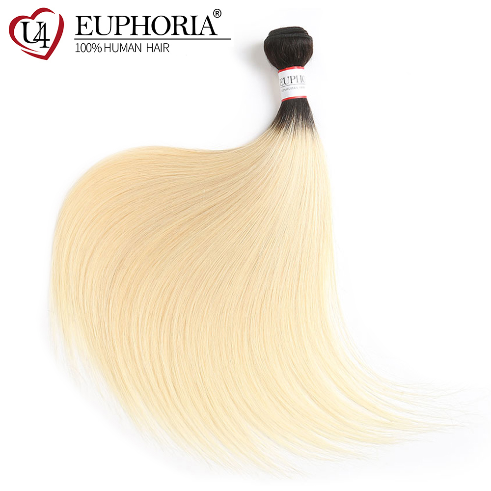 Blonde Black Ombre Color Hair Weave Bundles 8-26inch EUPHORIA Brazilian Straight 100% Human Hair Weaves Remy Weaving Extensions(China)