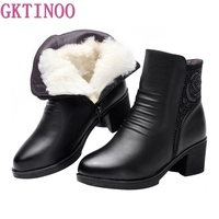 GKTINOO Fashion Genuine Leather Boots Women Shoes Comfortable Thicken Warm Wool Boots Snow Boots Winter Women Boots