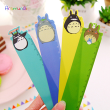 цены 4 Pack Cute Cartoon Straight Kawaii Tools Drawing Gift Korean Kids School Office 18.2cm Plastic Rulers Flexo Stationery Totoro