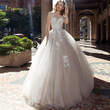 Loverxu Scoop A Line Wedding Dress 2019 Appliques Illusion Tank Sleeve Button Bride Dress Chic Court Train Bridal Gown Plus Size