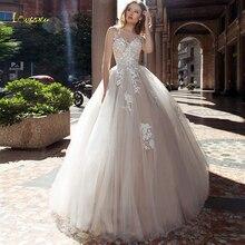 Loverxu Scoop A Line suknia ślubna 2019 aplikacje Illusion Tank guzik na rękawie suknia dla panny młodej Chic sąd pociąg suknia ślubna Plus rozmiar