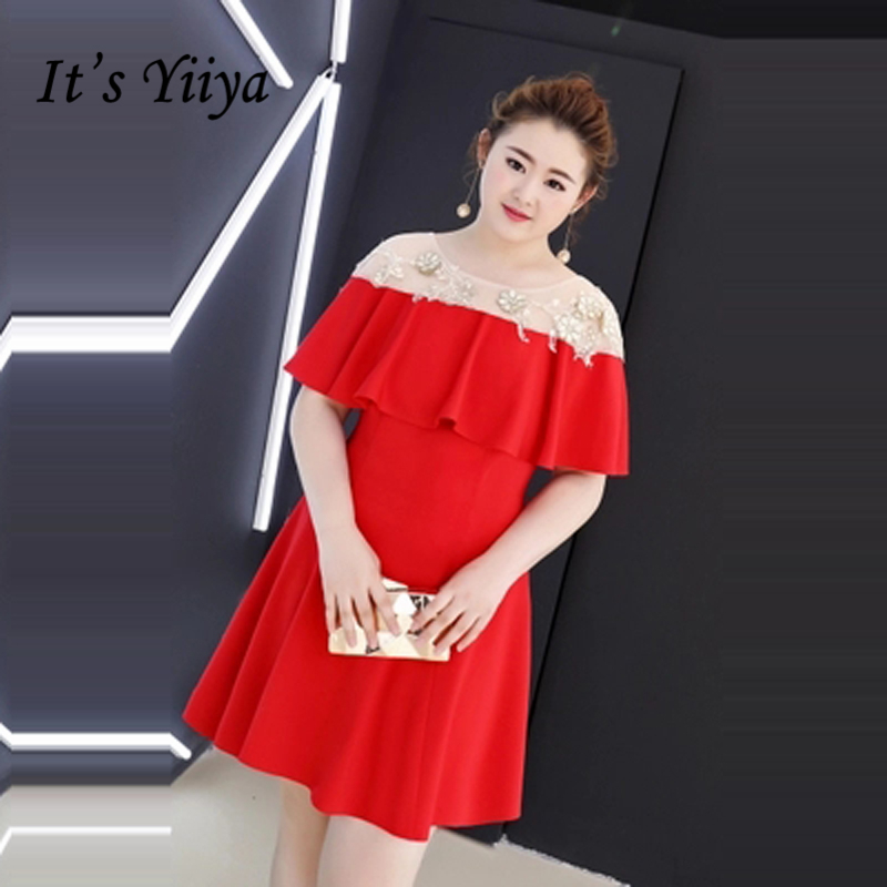 It's YiiYa   Cocktail     Dress   2018 Party Red Plus Size Contrast Color Fashion Designer Elegant Short   Cocktail   Gowns DM002