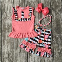 summer girls boutique clothes coral floral striped shorts cotton ruffles outfits  with matching accessories necklace and bow set