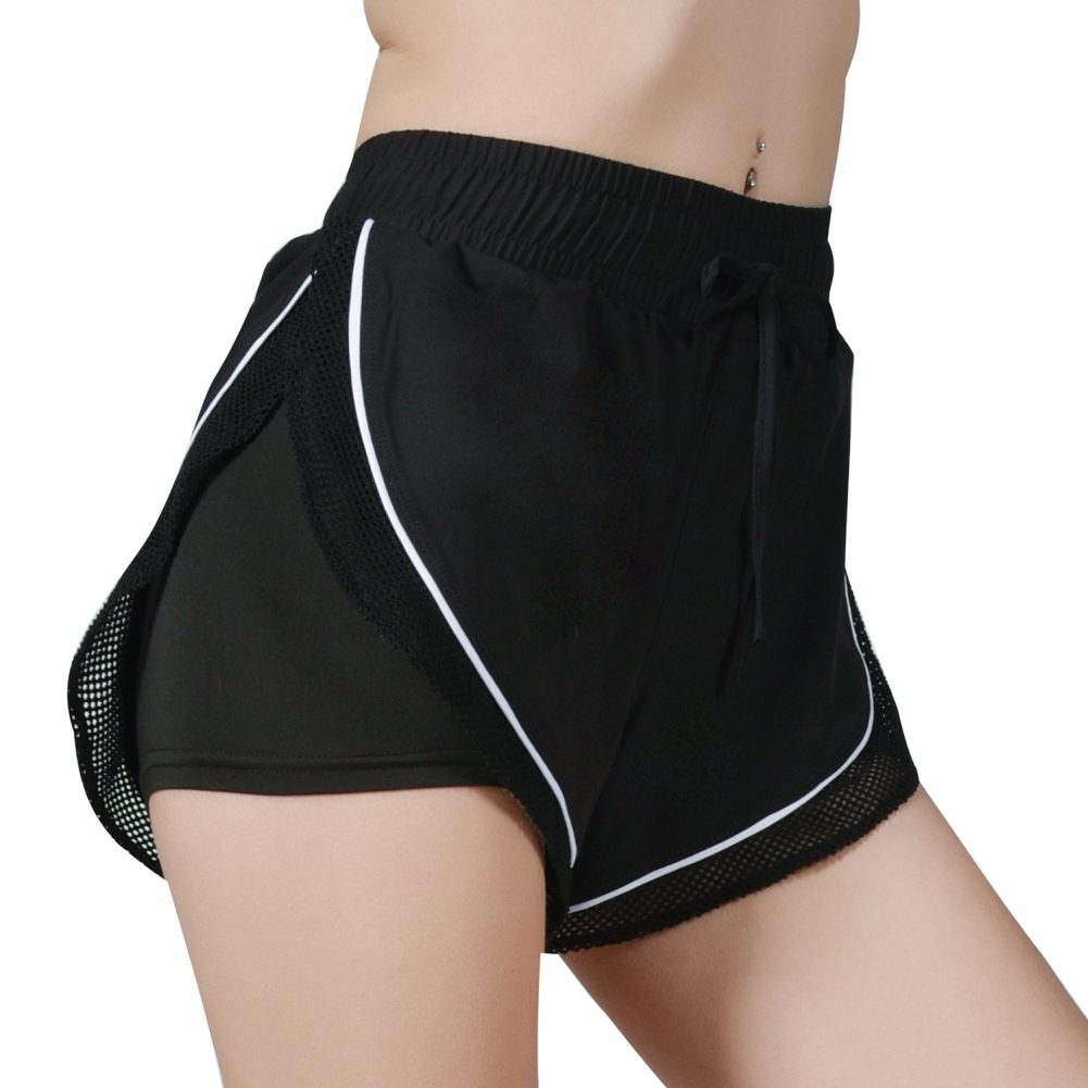 Fake Two Pieces Hem Drawstring Shorts Summer Women Shorts Sexy Lace Patchwork Female Mid Waist Shorts Fashion 3 Colors