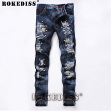 New Spring fashion Style Hole Jeans Men Casual Wear Picture Color Zipper Fly Male Trousers Full