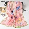 170 x 52 см мода чистый шелковый шарф женщин высокое качество шелкопряда шелк атлас с шарфы весна марка дизайн шаль