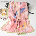 170x52cm Fashion Pure Silk Scarf Women High Quality Silkworm Silk Satin Long Scarves Spring Brand Design Shawl