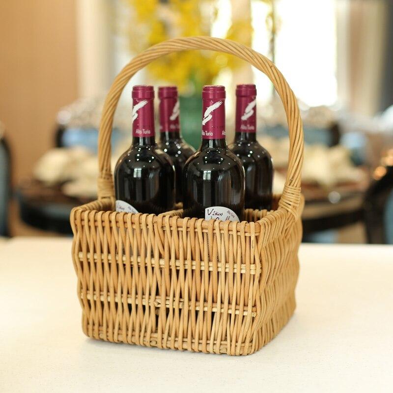 Vintage saule vin stockage panier à la main en osier Portable Camping pique-nique liqueurs titulaire suspendu tissé paille grand paniers Rack