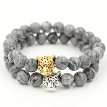 Newest drop shipping 8mm natural marble stone bead leopard head charm Men Womens elastic bracelet jewelry