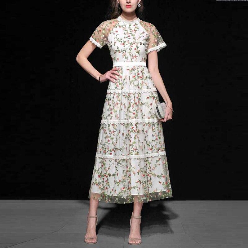 Banulin Designer de piste Floral broderie maille évider taille haute manches courtes col rond élégant femme longue robe Vestidos