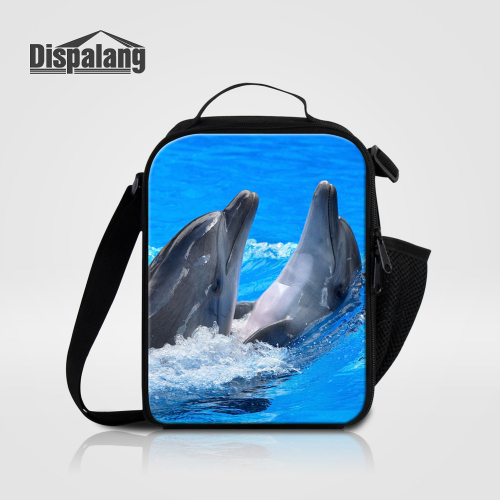 Dispalang Lunch Bag For Kids Girls Dolphin Animal Print Cooler Lunch Box For Children Boys Shoulder insulated Picnic Food Bag