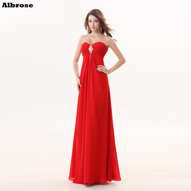 a425f4d2ca Red Beach Bridesmaid Dresses Cheap Simple Pleat Bridesmaid Dress Long  Chiffon Sweetheart Formal Party Gown Chic Women Gowns