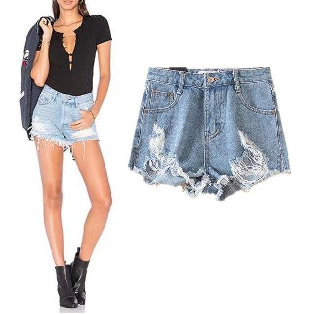 553ec0a60 € 15.42 49% de DESCUENTO|Nueva distresed Bermudas masculina pantalones  cortos Mujer vintage ripped agujero franja Denim Thong shorts mujeres sexy  ...