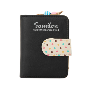 Small Candy Colors Cute Women Wallets Short Polka Dots Leather Small Wallet Laddies Purse Mini Child Cards Holder for Girls QL wallet