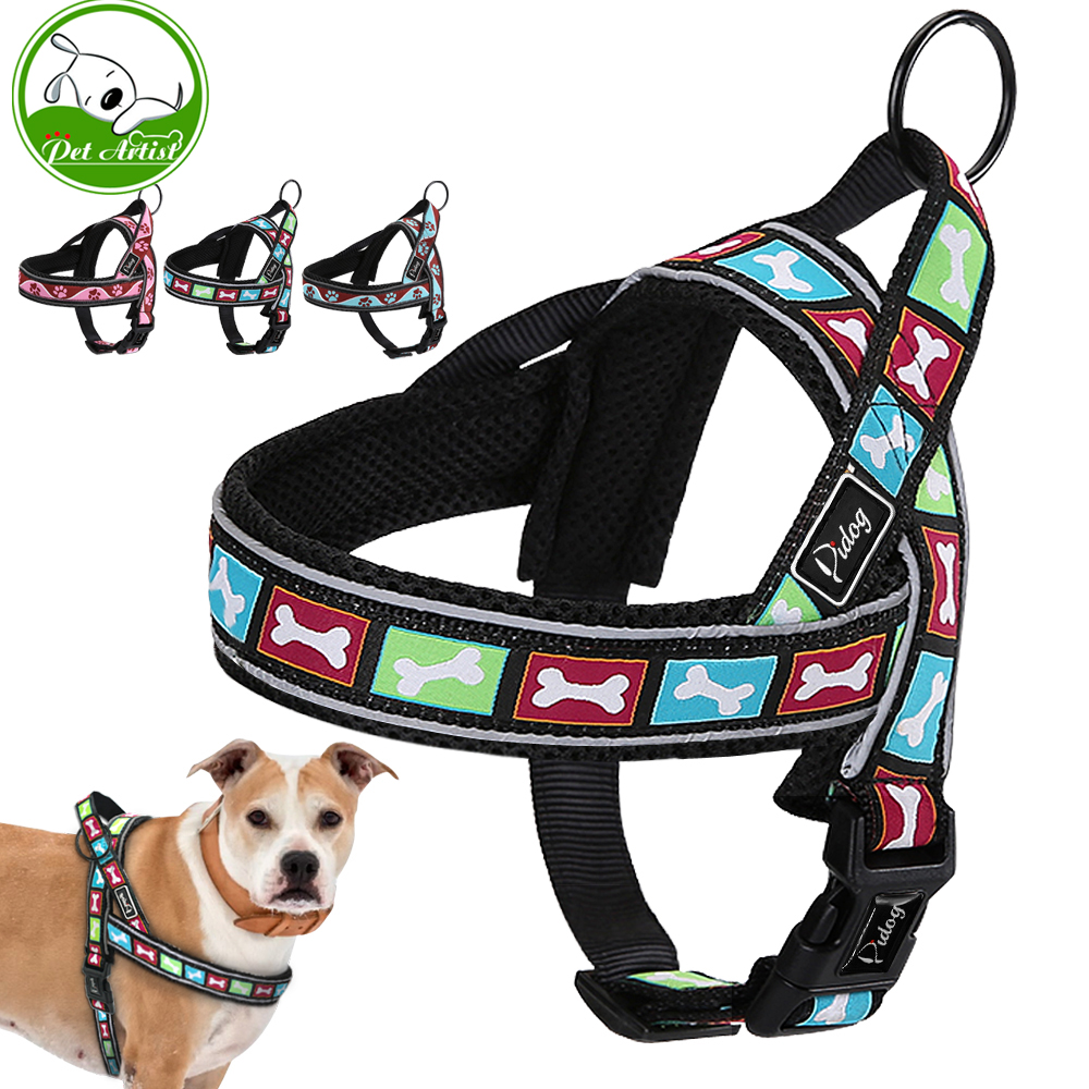 Reflective Large Dog Harness Nylon Padded Pet No Pull Quick Fit Training Vest With Handle For hot sale reflective large dog harness nylon padded pet no pull quick