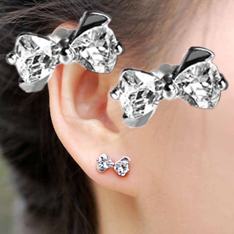 Jewelry Stud-Earrings Zircon 1-Pair Bowknot Silver-Plated Hot Chic EAR-0609-WT Charm