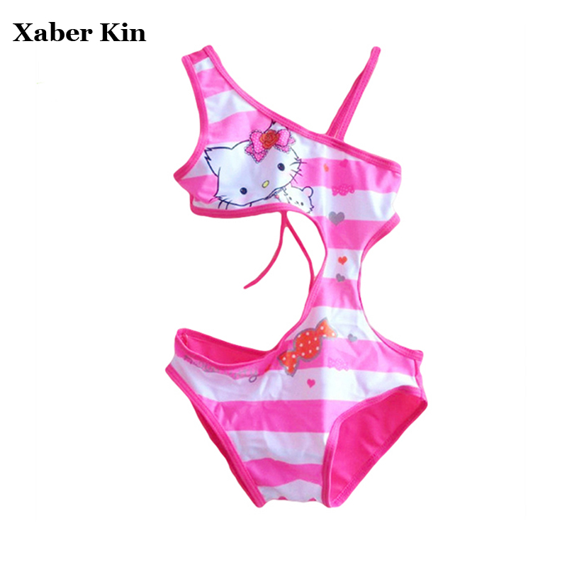 цены New 2018 Girls One Piece Swimsuits Hello Kitty Swimming Suits Rose KT Swimwear Children Beachwear Lovely Swimsuits Girl G3-SW014