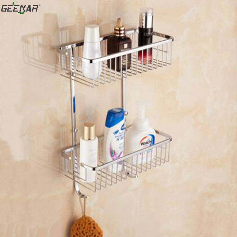 Bath shelf, wall hanging, double square basket, bathroom, shower room, corner basket, bathroom corner shelf brand new iron wall basket shelf for bathroom
