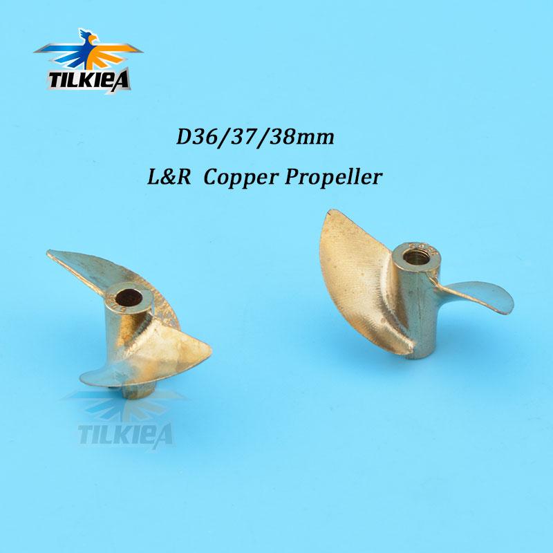 Rc Boat Propeller 2 Blades Prop Iridium Copper Propeller Left / Right Diameter 36/37/38mm Propeller For 4mm  Boat Shaft