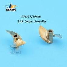 2 Лопасти пропеллера для лодок с дистанционным управлением, медный пропеллер Iridium, левый/правый диаметр 36/37/38 мм, пропеллер для вала лодки 4 мм