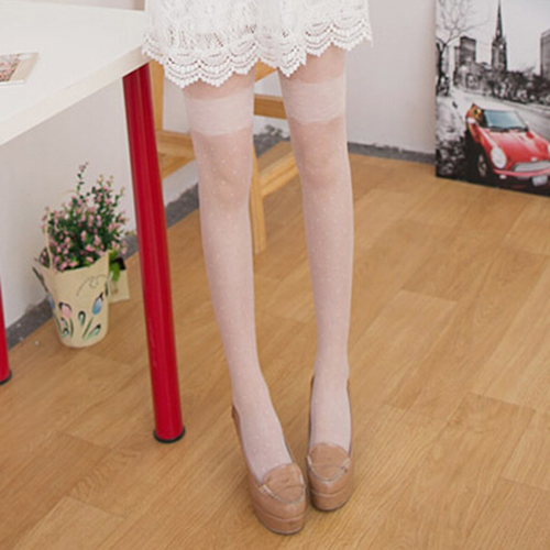 New Style Sexy sheer Lace Slim Pantyhose Stockings Dot Cut Tights for Women and Girls