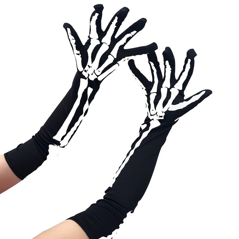 2 Pairs Halloween Skeleton Gloves Full Finger Skeleton Gloves Long Arm Skeleton Gloves for Kids and Adults
