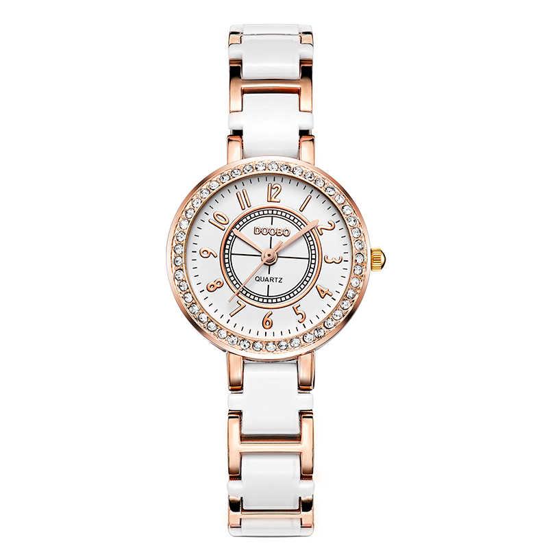 DOOBO Брендовые женские часы 2017, имитация керамики, женские роскошные черные часы с браслетом, изысканные стальные Модные женские кварцевые наручные часы