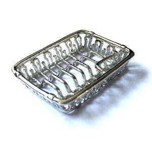 Серебряная стойка для кухонных блюд, кукольный домик, миниатюрный DM004C, 1:12