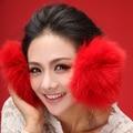 2017 otoño invierno cálido proteger oído capa de nieve oído moda real super calentadores Del Oído manguito de piel de Zorro Rex caliente Mullido Orejeras Diadema