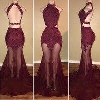 Gorgeous Red Lace Tiul Suknie Wysoka Neck Aplikacje Prom Dresses Backless Długość Podłogi Moda Mermaid Suknie Custom Made