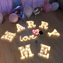 DIY 3D Marquee Sign 26 Alphabet Lights Christmas Valentine's Day Gift Home Club Outdoor Indoor Decor Letter LED Night Light LAMP lumiparty led reindeer night light cordless night table lamp christmas wall marquee sign with 8 led lights for christmas