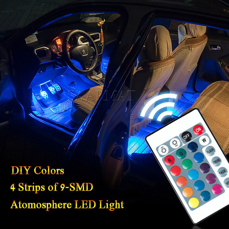 4X 9SMD RGB Wireless Remote/Music/Voice Control Interior Floor Foot Decoration Neon Lamp ...