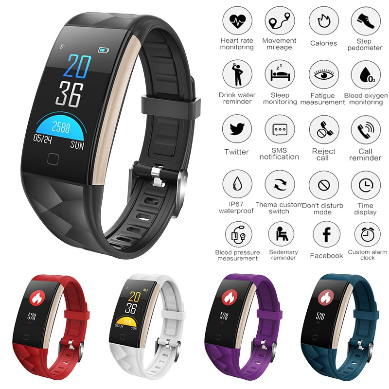Upgraded Color Screen Heart Rate Monitor Blood Pressure Smart Bracelet Wristband Smiler Sleep Monitor Pedometer Sport Waterproof Activity Tracker Fitness Tracker