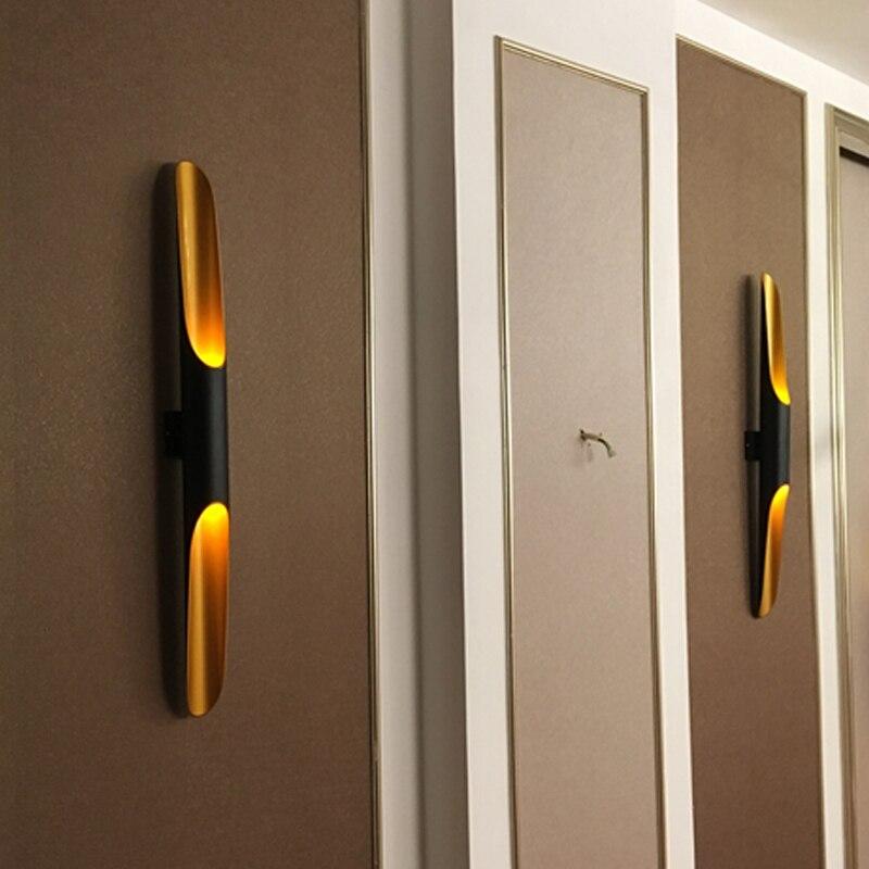 tubo de aluminio moderno luz parede e27 luminarias ouro preto nordic restaurante sala estar corredor varanda