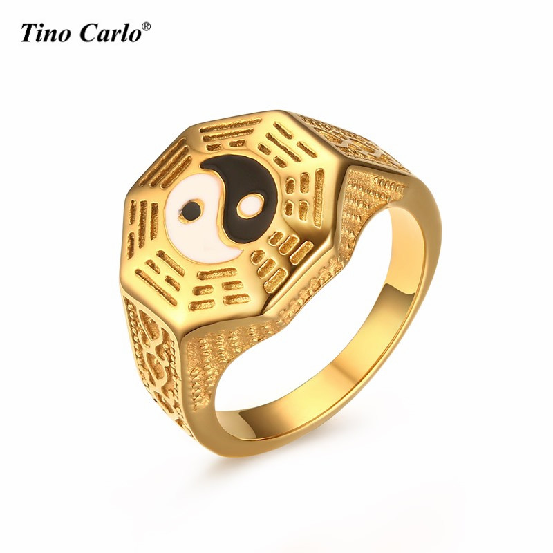 JKL Mens Gold Yin Yang Symbol Tai Chi Band Ring Fashion Gift Signet Ring Stainless Steel Taoism Religion Lucky Jewelry Size 7-11