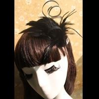Balo salonu Şarkıcı Güzel Takı Sevimli Retro Gelin Saç Bandı Düğün Saç Takı Siyah Tüy Bandı Toptan Gelinlik Modelleri
