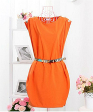 Women's Sleeveless Crew Neck Shoulder Button Tunic Dress With Belt Plus Size: M-XL 1117