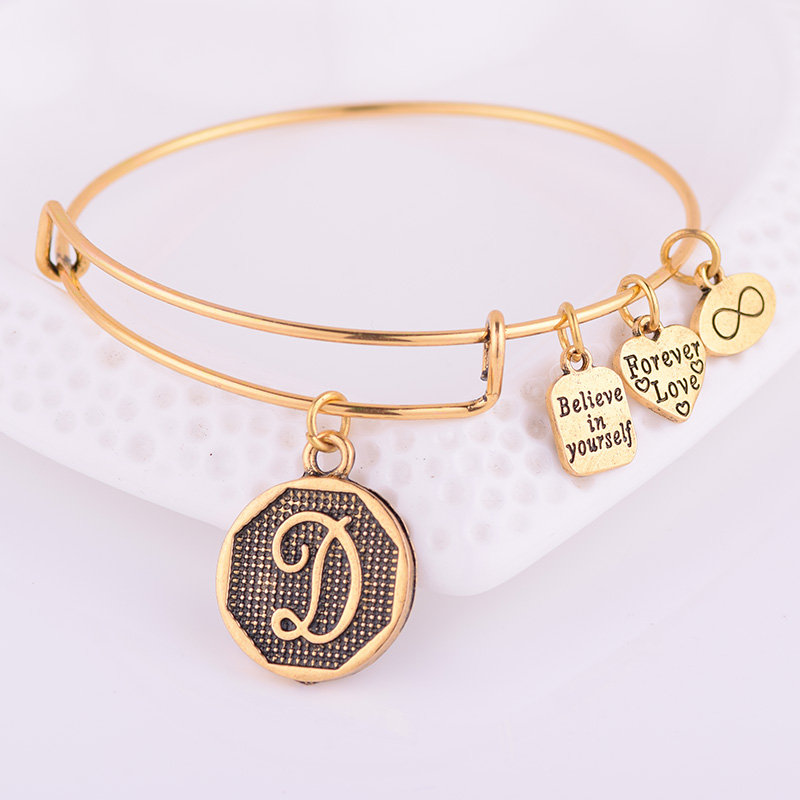 Jewelry & Access. ...  ... 32791678632 ... 2 ... Expandable Bracelet ANCIENT GOLD A-Z Initial Letter American Fashion Charm Alphabet Bracelet Adjustable Wire Wrap Cuff Bangle ...