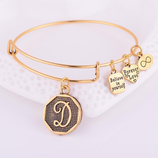 Expandable Bracelet ANCIENT GOLD A-Z Initial Letter American Fashion Charm Alphabet Bracelet Adjustable Wire Wrap Cuff Bangle 1