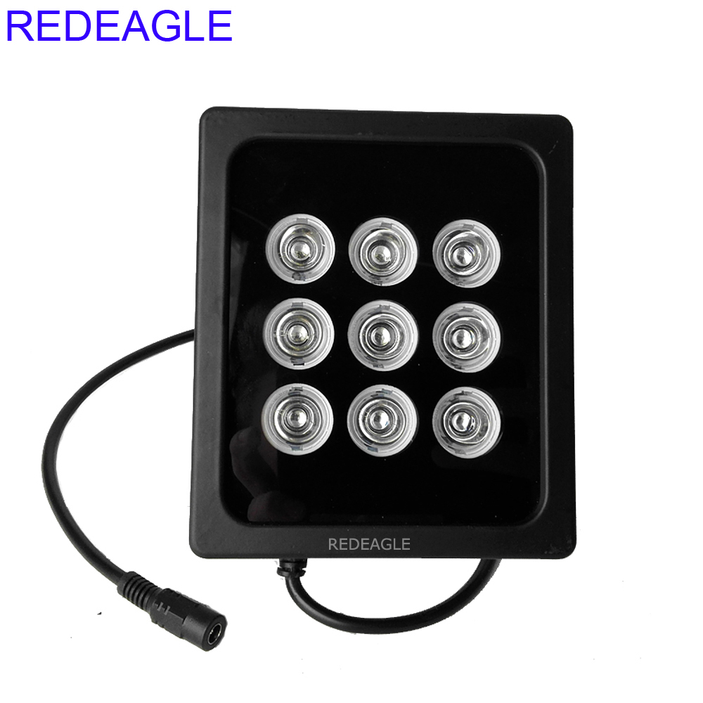 REDEAGLE CCTV 9pcs Array IR LED Illuminator Infrared Night Vision Fill Light Waterproof Metal Case for Security Cameras System azishn cctv 12pcs array leds ir illuminator infrared outdoor waterproof night vision cctv fill light for cctv security camera